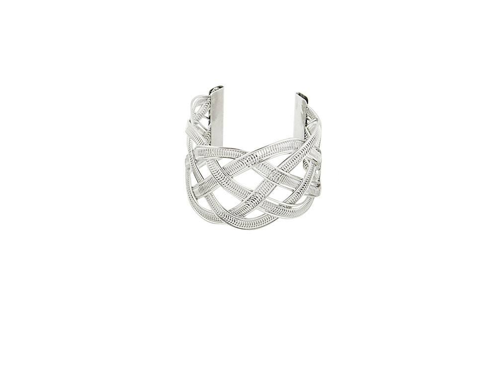 Woven Wire Silver Cuff Bangle