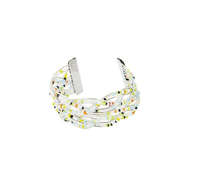 Multi Colour Bead Silver Tone Bangle