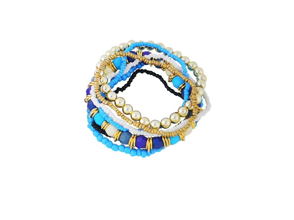Blue and Golden Bead Stack Bracelet