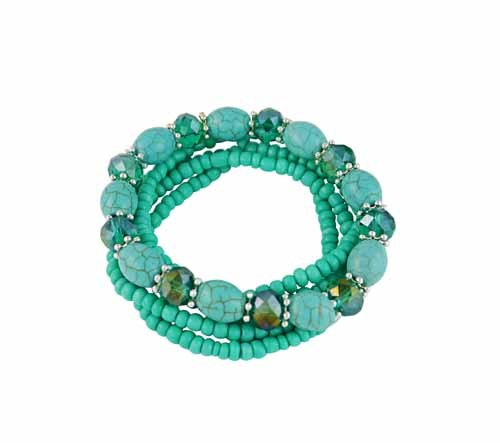 Multi Layer Stretch Bead Turquoise Bracelet - Boho Jewellery