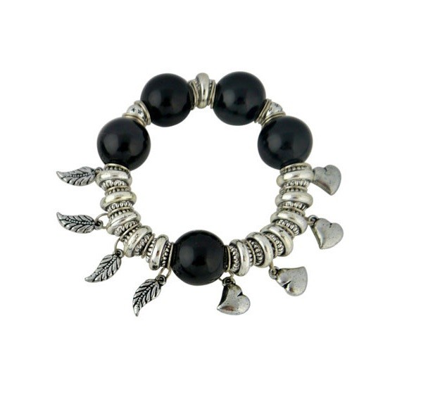 Heart and Leaf Charm Black Bead Stretch Bracelet