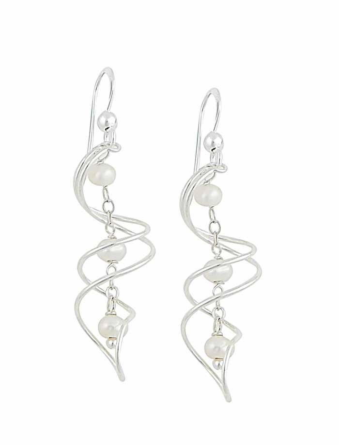 Multi-Bar Sterling Silver Curved Freshwater Pearl Ladies Drop Earrings