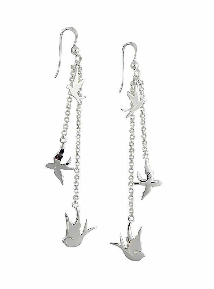 Bird Charm Silver Long Dangle Earrings