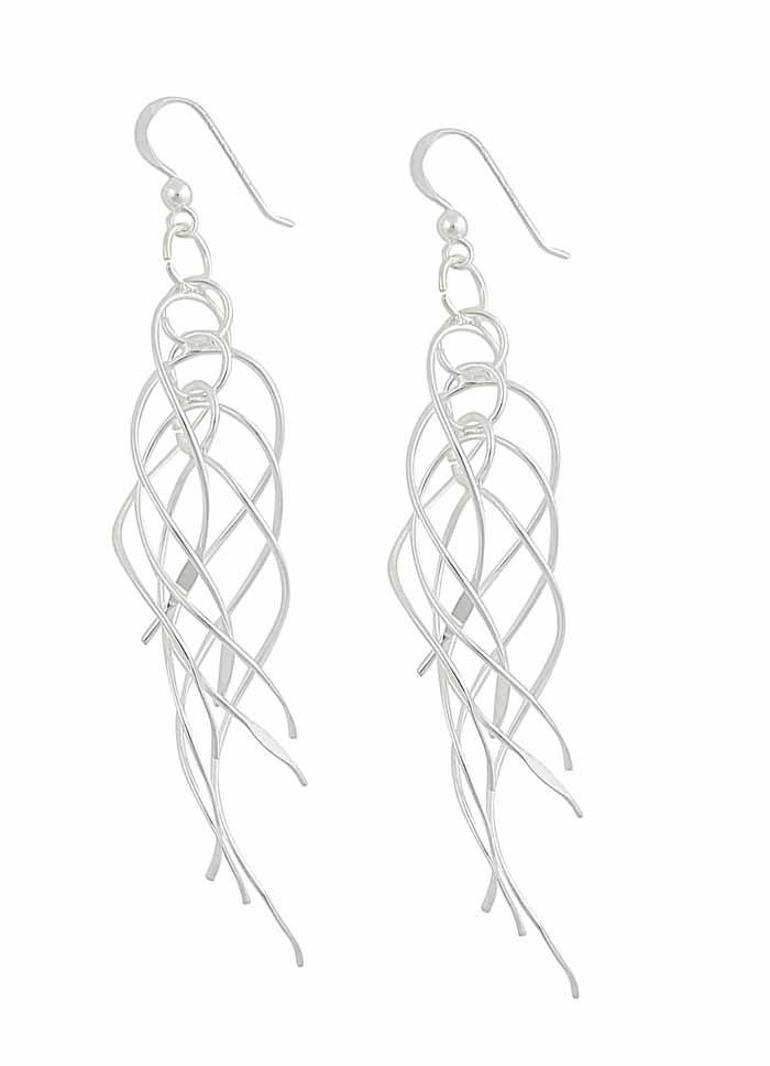 Cross Over Dangle Interlinked Swirl Long Drop Earrings