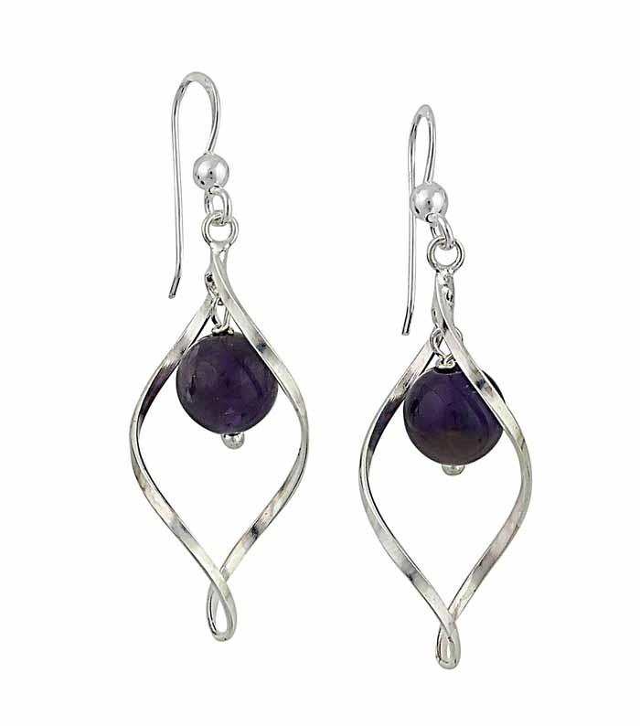 Silver Water Drop Amethyst Dangle Earrings
