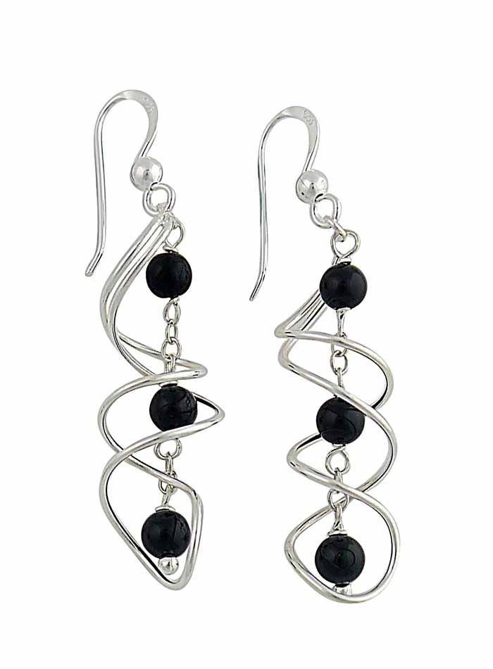 Intertwined Swirl Black Onyx Drop Earrings