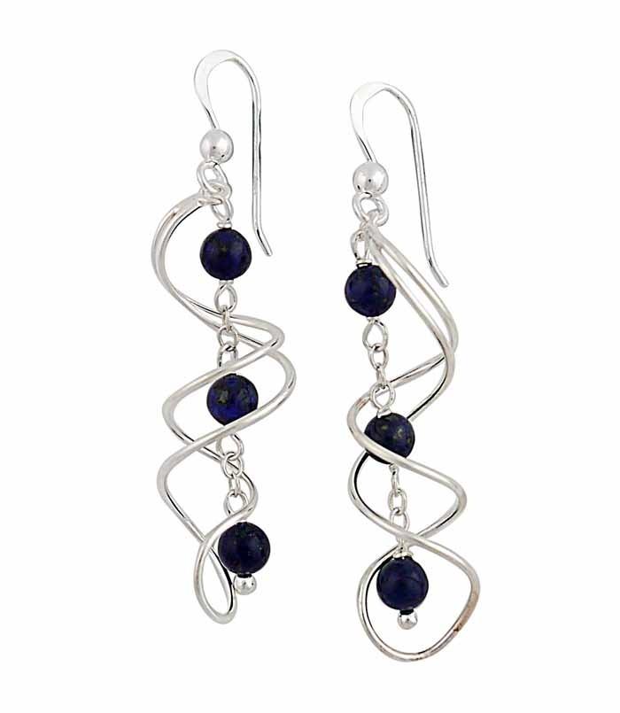 Intertwined Swirl Lapis Lazuli Drop Earrings