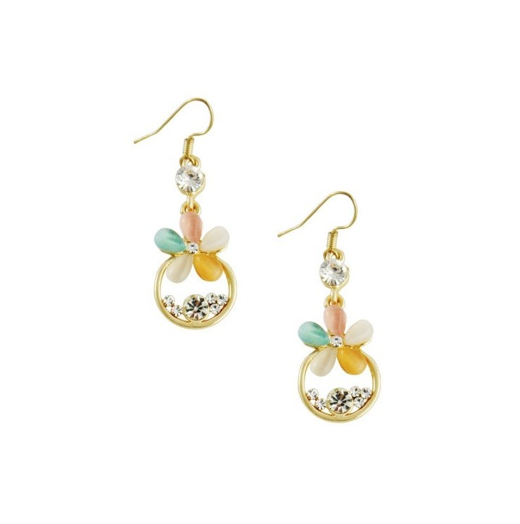 Flower and Golden Ring Drop Earrings