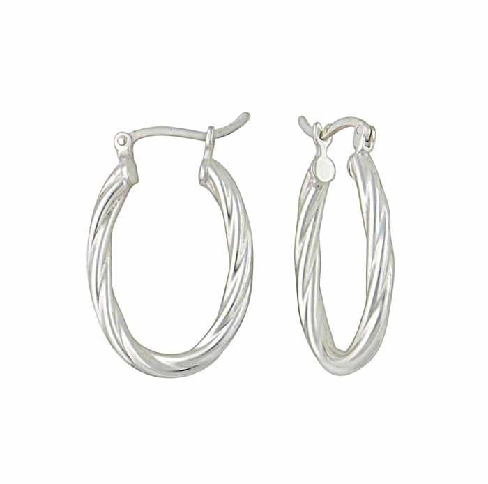 25mm Twisted Rope Design Silver Hoop Earrings
