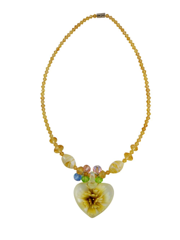 Large Murano Heart Pendant Neckalce