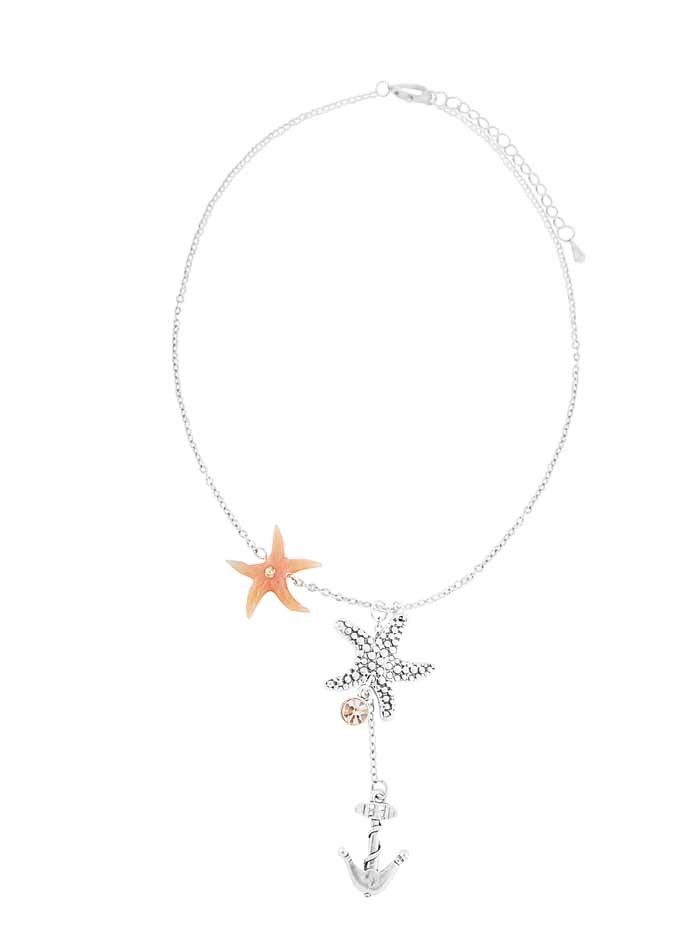 Star and Start Fish Pendant Antique Silver Necklace