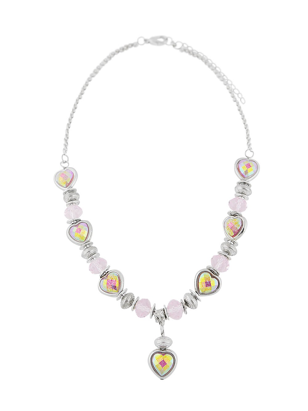 Heart Pendant and Crystal Bead Necklace
