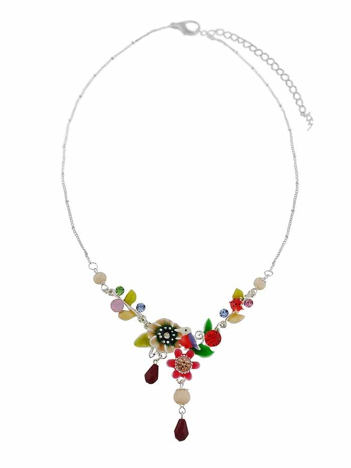 Short Enamel Leaf and Flower Necklace