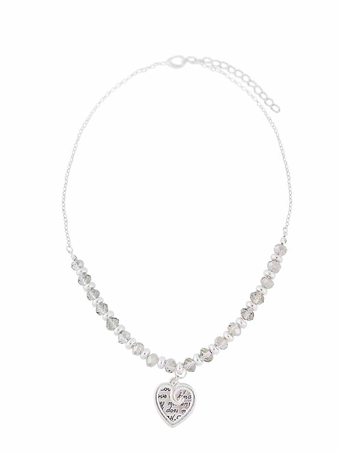 Silver Tone Ring and Crystal Necklace