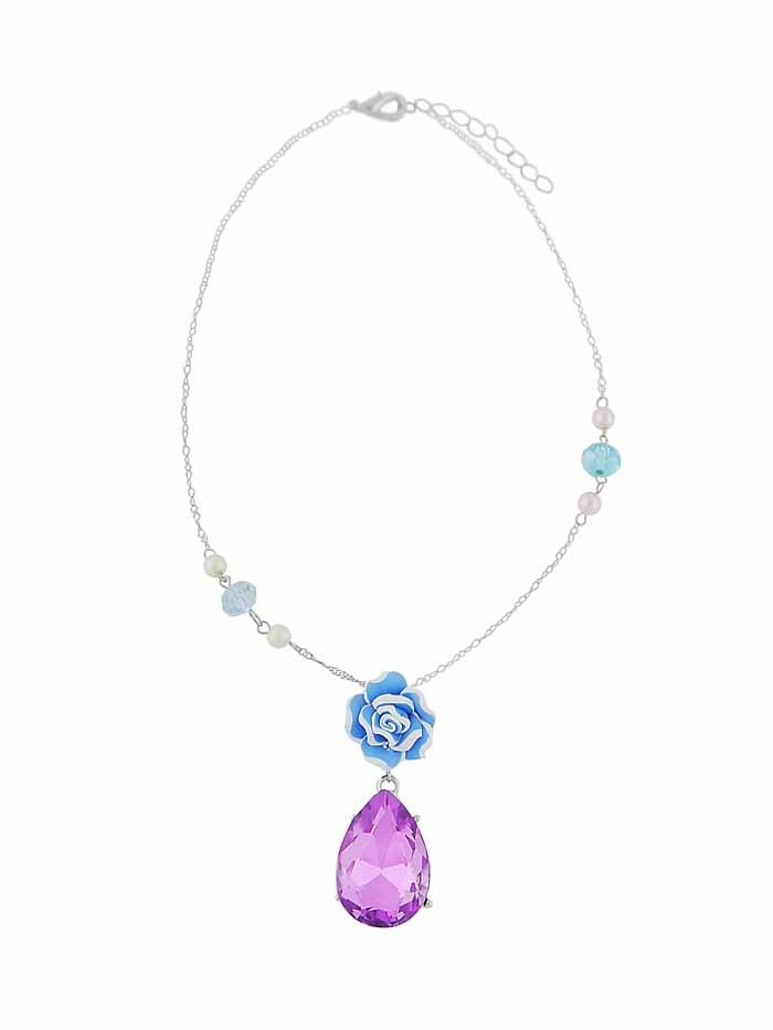 Rose and Teardrop Pendant Short Necklace