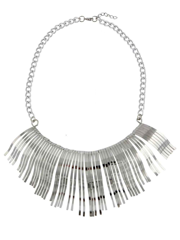 Curved Tassel Design Choker Necklace