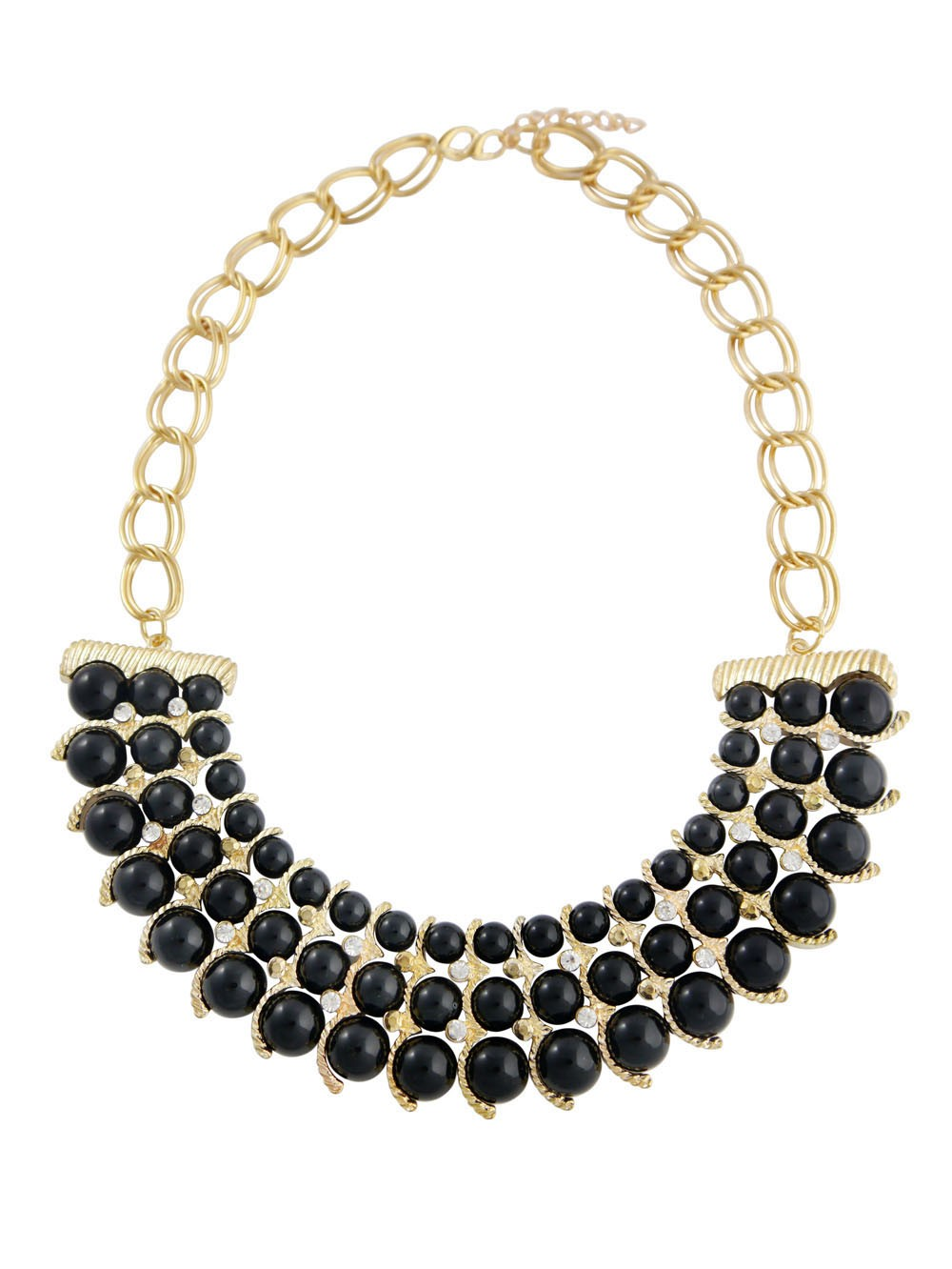 Three Row Black Bead Necklace