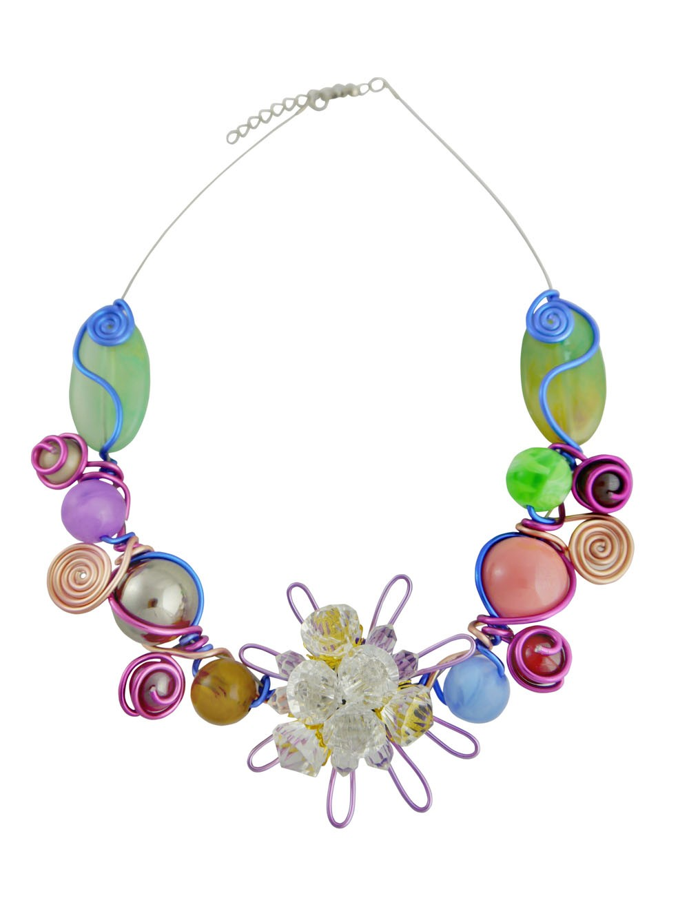 Multi Colour Bead And Flower Choker Necklace
