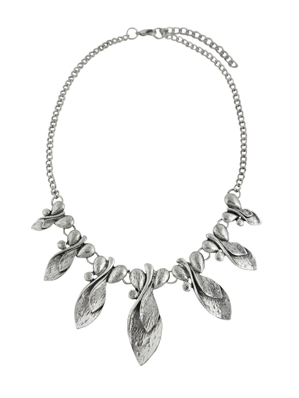 Antique Silver Leaf Pendant Necklace