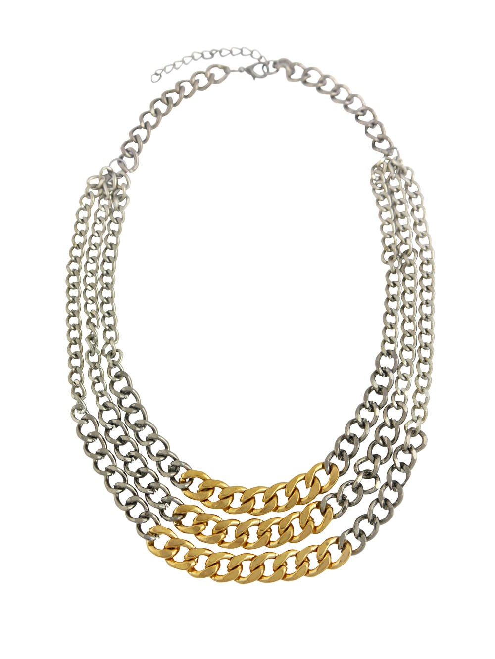 Three Row Chunky Chain Fashion Necklace in Silver, Gold and Gun Black Finish