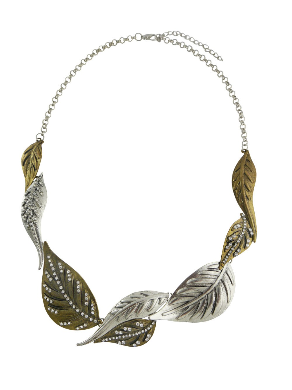 Antique Silver And Antique Leaf Necklace