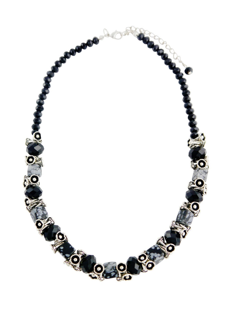 Black Bead Chunky Necklace