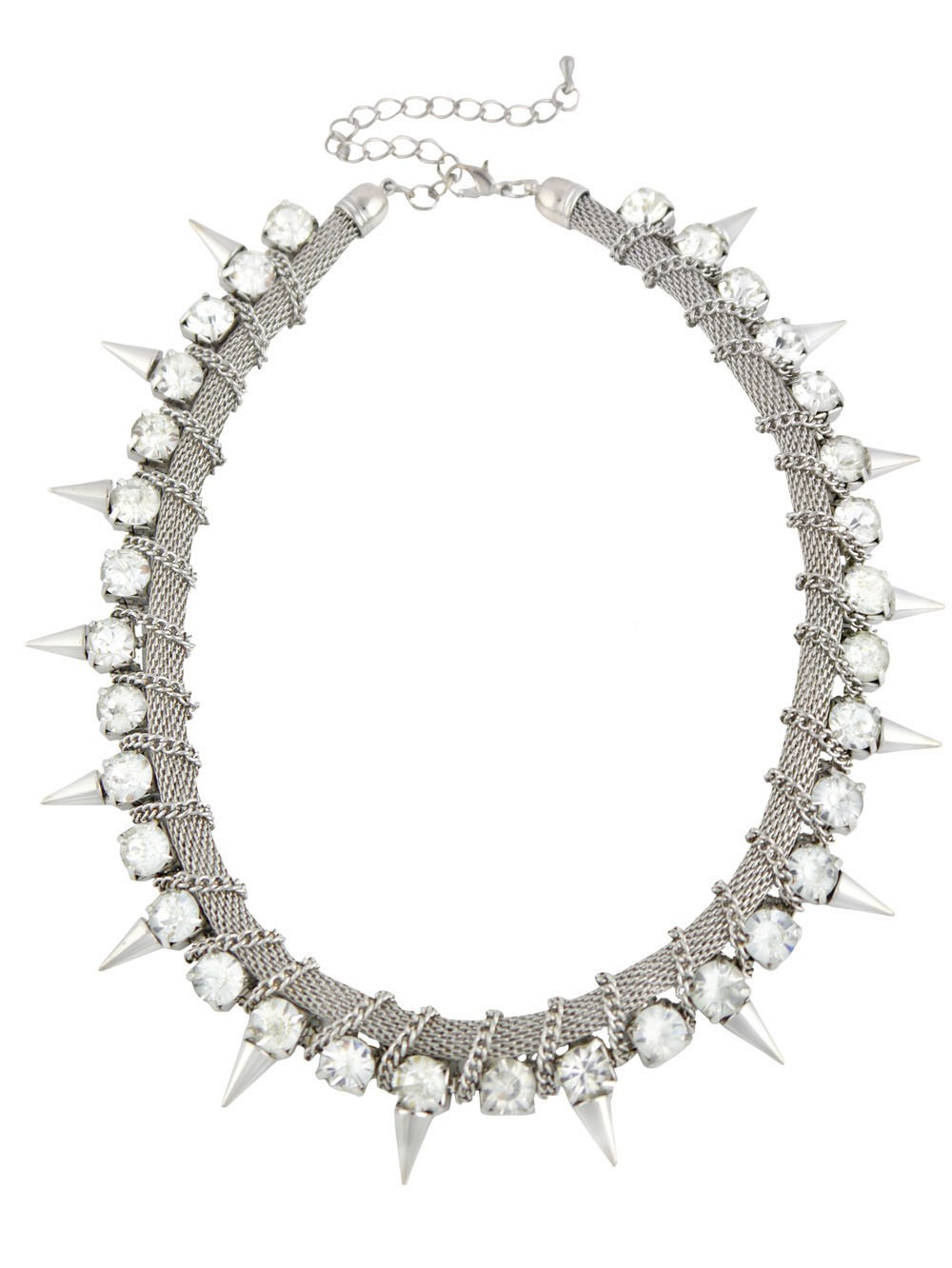 Spike and Clear Crystal Elegant Short Necklace