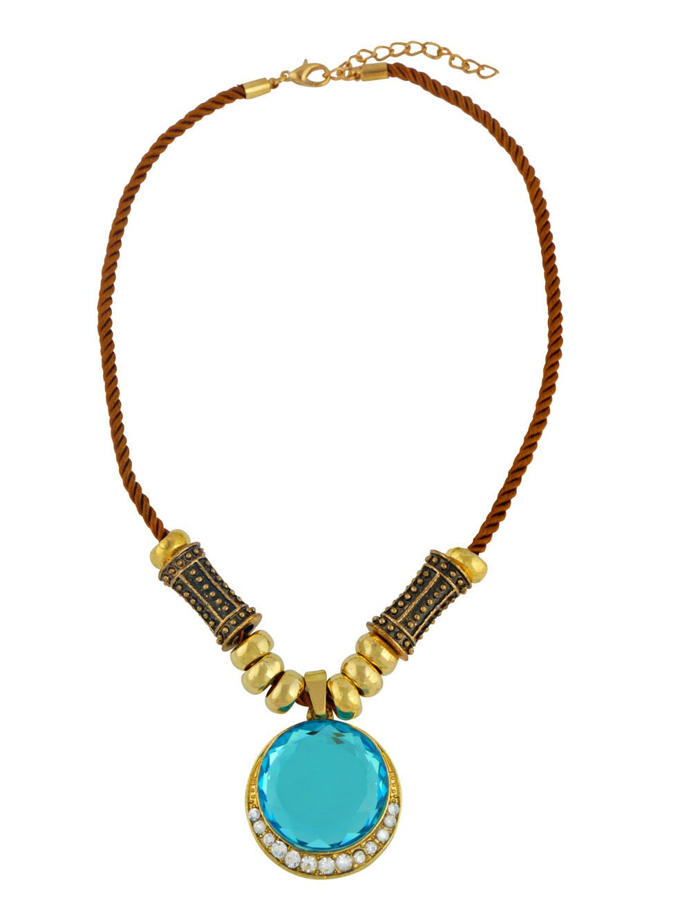 Golden Tone Circle Pendant with Blue Stone Fashion Necklace