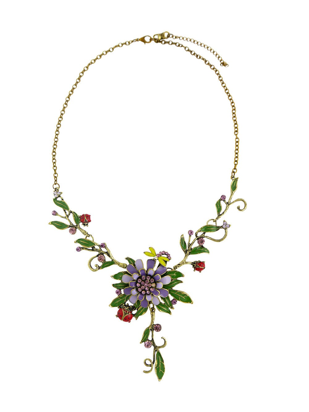 Branch Style Leaf and Flower Statement Necklace