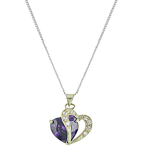 Purple Heart Pendant Necklace
