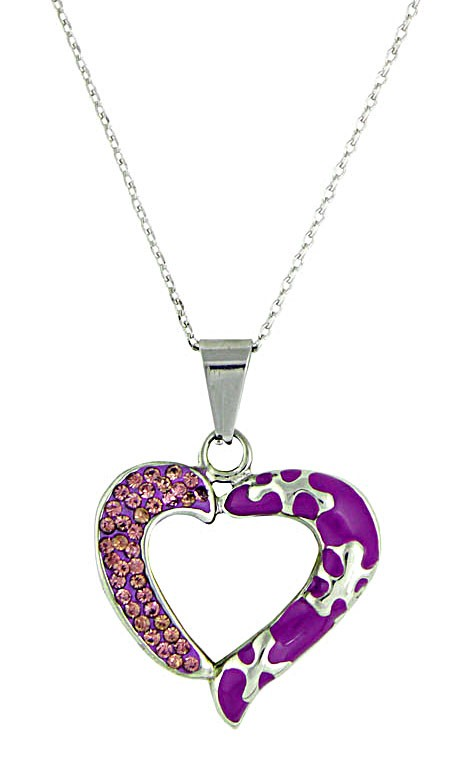 Hollow Out Rhinestone Encrusted Purple Heart Pendant Necklace