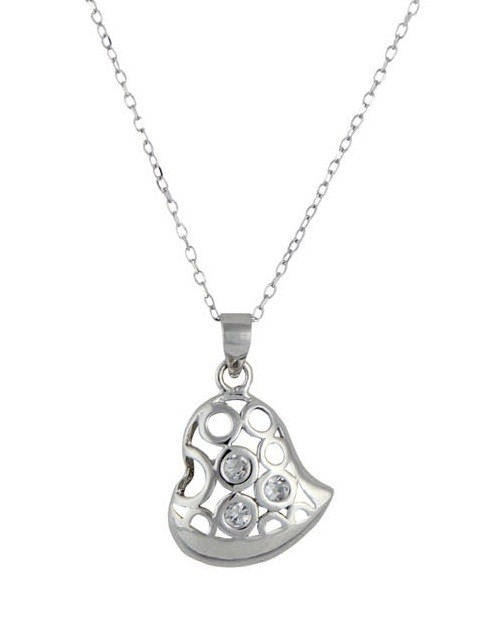 Three Cubic Zirconia and Heart Pendant