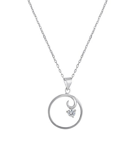 Circle Pendant Sterling Silver Necklace