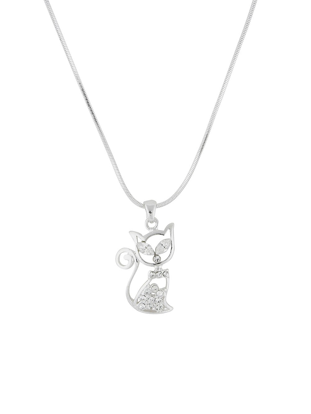 Silver Tone Cat Pendant with Rhinestone Detailing