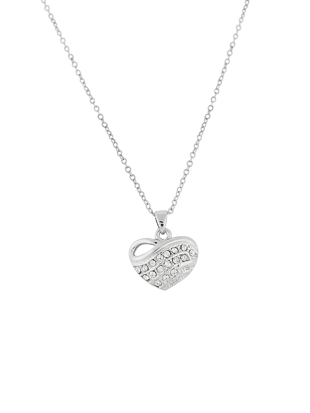 Heart Pendant Necklace with Rhinestones Detailing