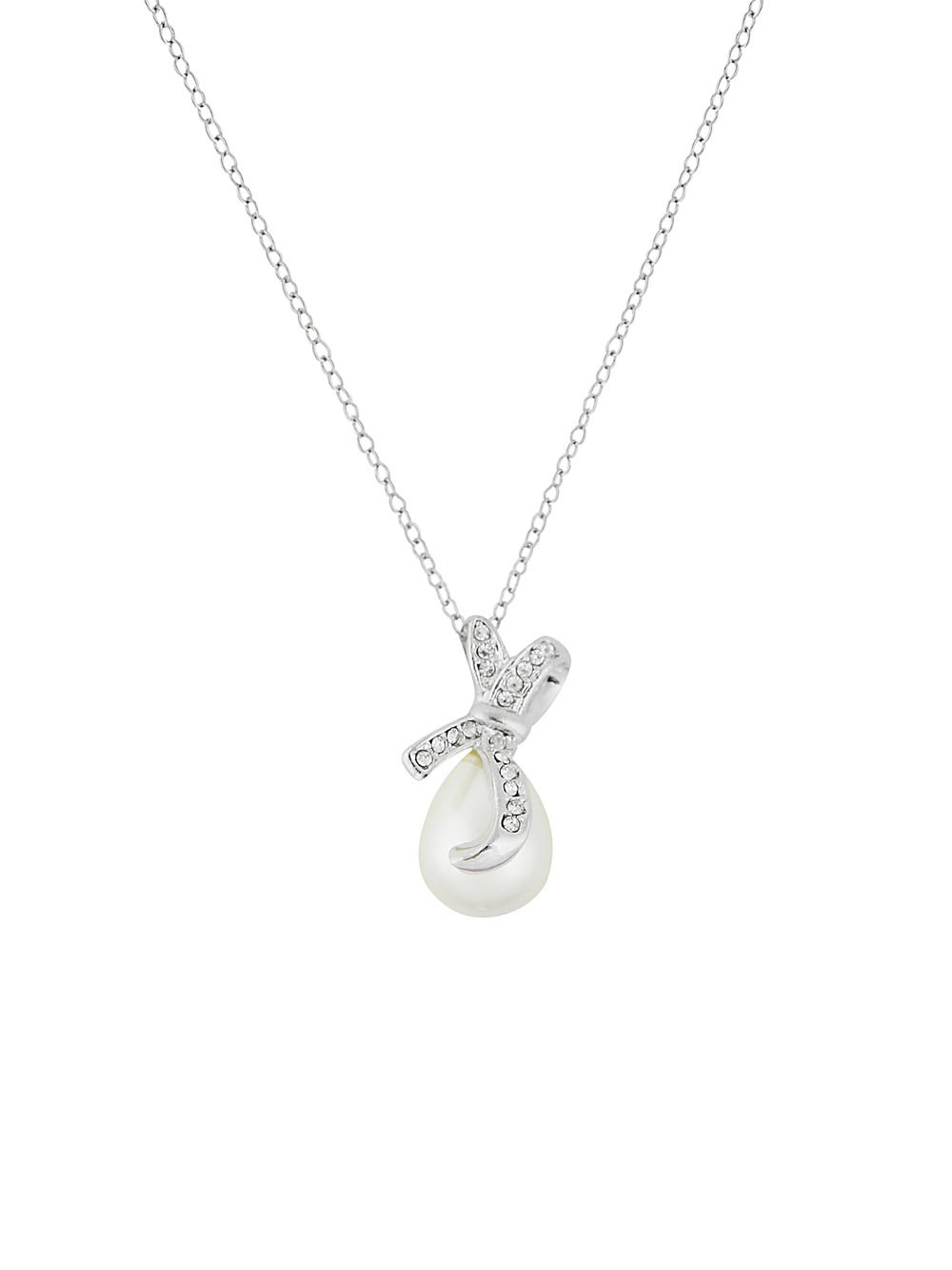Bow and Pearl Pendant Short Necklace