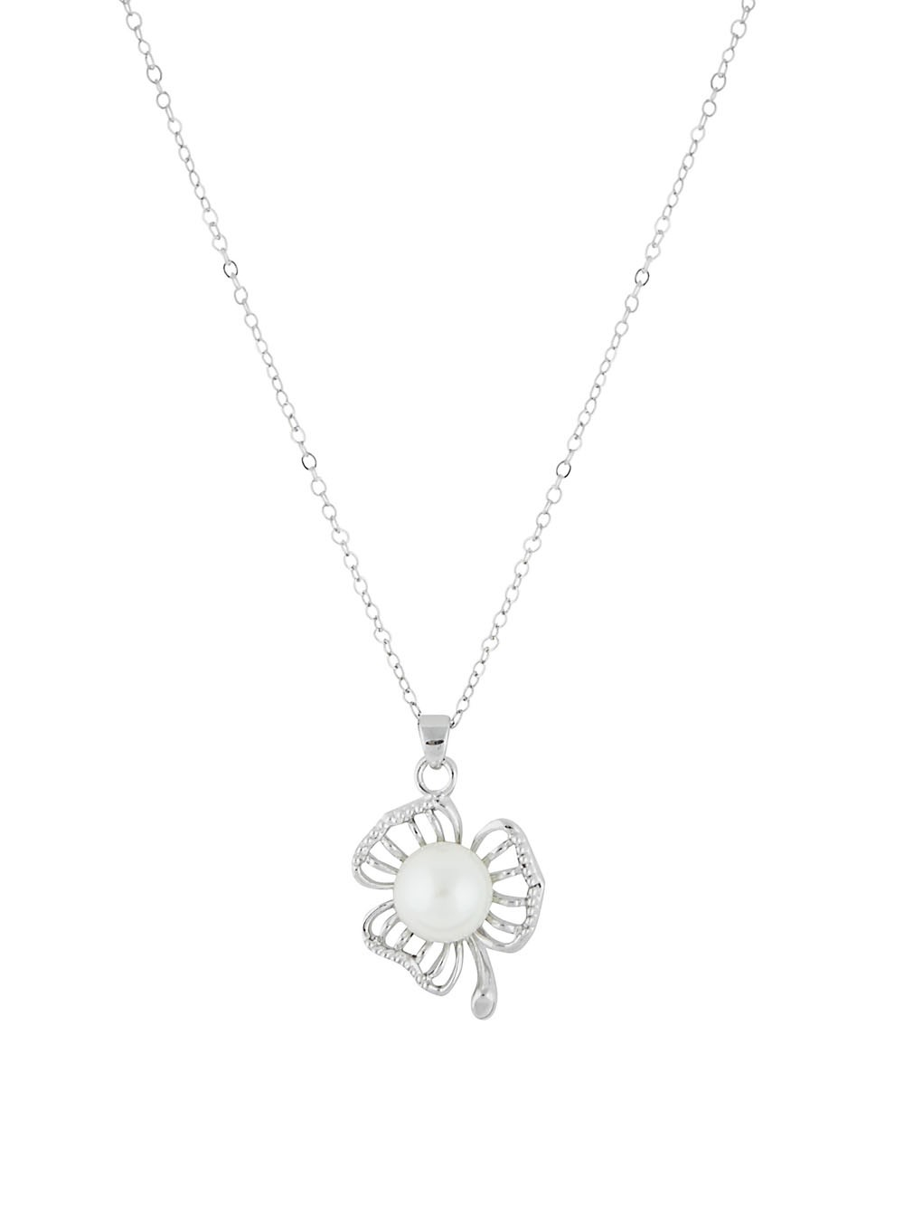 Flower and Pearl Pendant Necklace