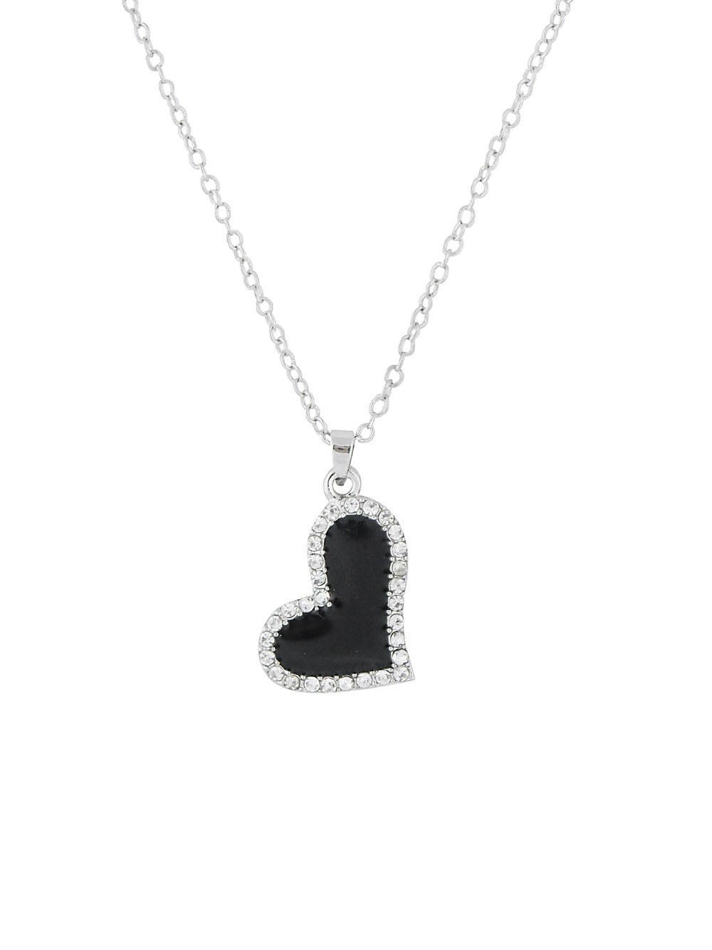 Black Heart Pendant Necklace With Clear Crystal
