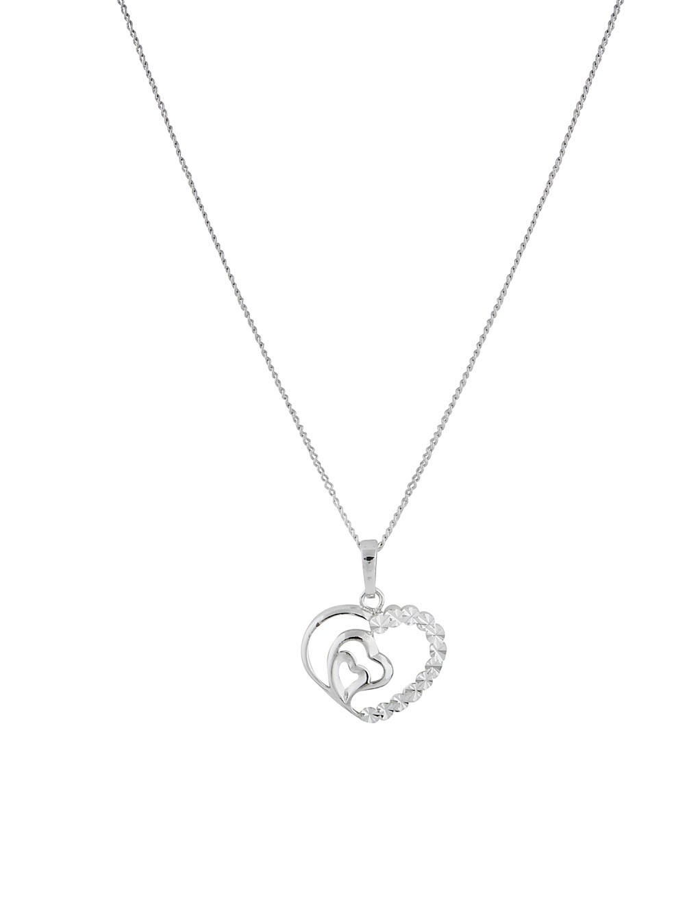 Triple Heart Rhodium Plated Pendant Necklace