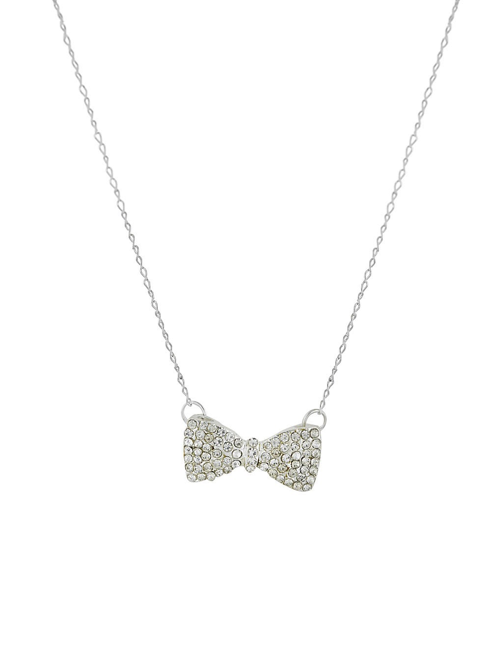 Silver Tone Bow Pendant Necklace