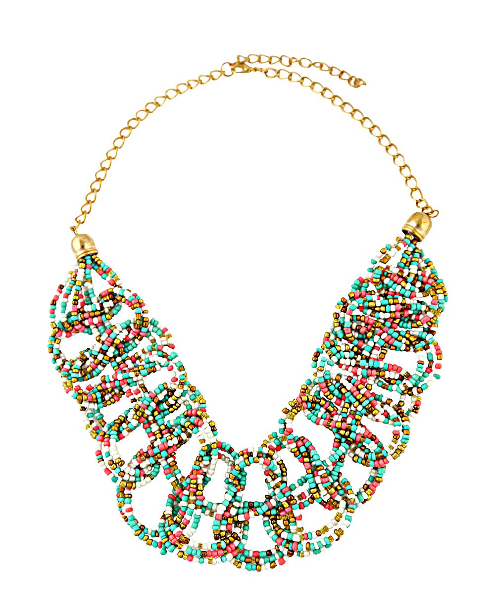 Seed Bead Link Pattern Fashion Necklace