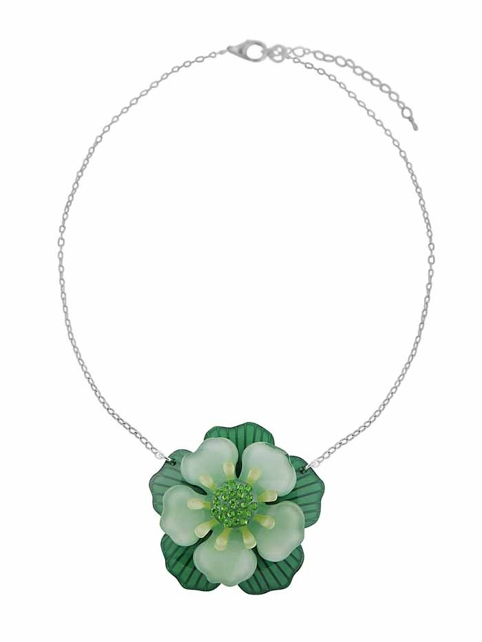 Flower Pendant Embellished with Rhinestone Necklace - Green