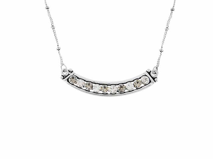 Antique Silver Finish Diamante Pendant Necklace
