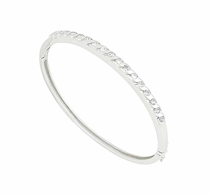 Silver Cubic Zirconia Bangle