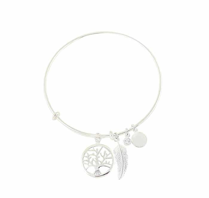 Feather and Tree of Life Charm Silver Bangle