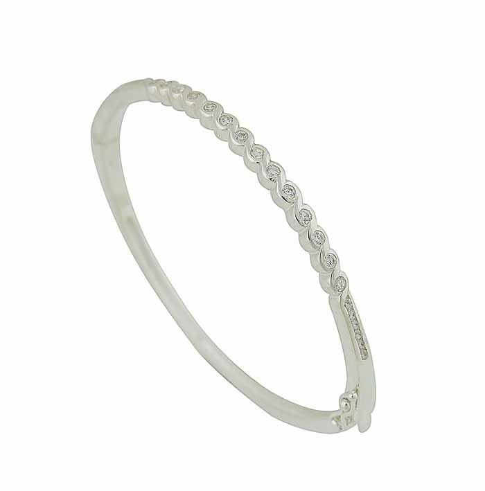 Sterling Silver Cubic Zirconia Hinged Bangle