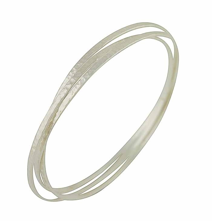 Sterling Silver Triple Hammered Finish Bangle