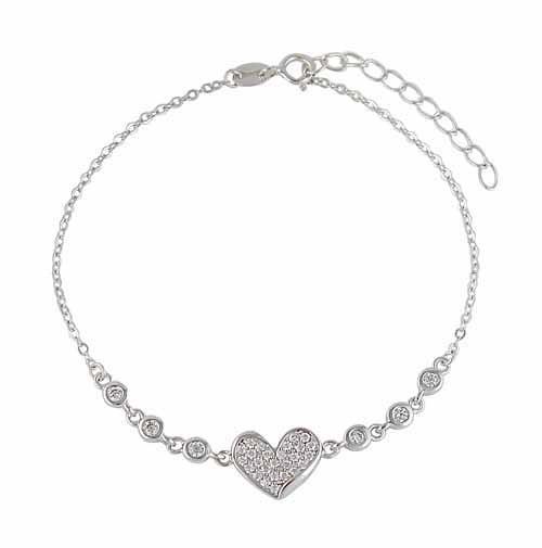 Heart and Cubic Zirconiz Sterling Silver Bracelet