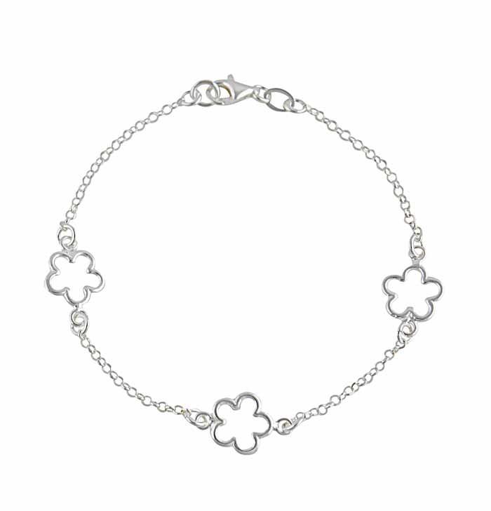 Three Flower Silver Bracelet