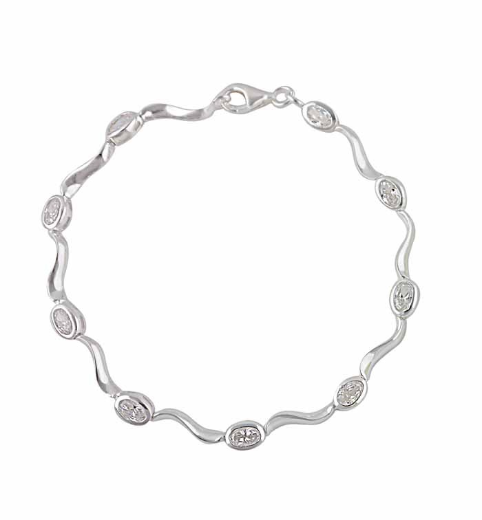 Twisted Bar and Cubic Zirconia Silver Bracelet